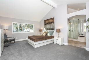 Contemporary Master Bedroom with High ceiling, Exposed beam, Carpet