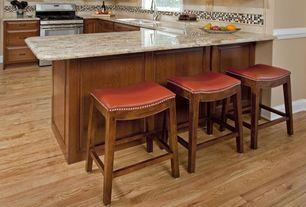 "Craftsman Kitchen with Complex granite counters, Undermount sink, Stone Tile, Furniture Classics LTD 24"" Counter Stool"
