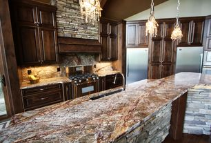 Rustic Kitchen with full backsplash, French doors, Onyx, Kitchen island, Multiple Sinks, Flush, Pendant light, Custom hood