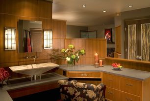 Contemporary Master Bathroom with Built-in bookshelf, Flush, Vessel sink, Master bathroom, European Cabinets, Slate counters
