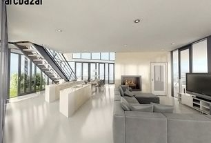 Modern Great Room with Standard height, picture window, Chandelier, Fireplace, can lights, simple marble floors, French doors