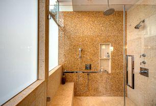 Contemporary Master Bathroom with frameless showerdoor, Handheld showerhead, Master bathroom, Rain shower