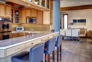 Craftsman Kitchen with built-in microwave, Exposed beam, Flat panel cabinets, can lights, Subway Tile, stone tile floors