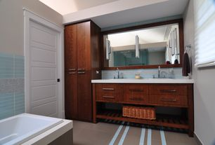 Contemporary Full Bathroom with Double sink, specialty door, Flat panel cabinets, Simple marble counters, Rain shower, Flush