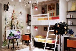 Eclectic Kids Bedroom with Built-in bookshelf, Hardwood floors, Bunk beds, Mural, Chandelier, Wall sconce, Crown molding