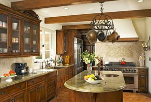 Country Kitchen with mexican tile backsplash, Inset cabinets, Kitchen island, Glass panel, Complex granite counters, L-shaped