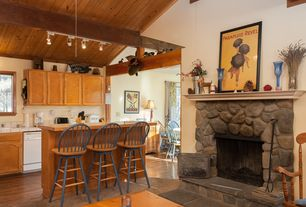 Rustic Kitchen with partial backsplash, Wood counters, dishwasher, Fireplace, large ceramic tile counters, High ceiling