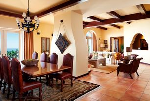 Mediterranean Great Room with Set/6 small side chairs tuscan distressed, Arched window, terracotta tile floors, Chandelier