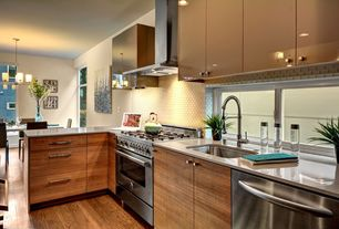 Contemporary Kitchen with Undermount sink, U-shaped, European Cabinets, Breakfast nook, Glass Tile, Flush, Glass panel