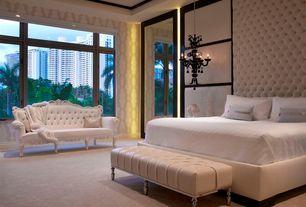 Contemporary Master Bedroom with Z Gallarie Calais Chandelier, Chandelier, Carpet, Crown molding, interior wallpaper