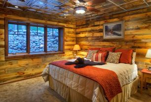 Rustic Guest Bedroom with Box ceiling, Carpet, Ceiling fan