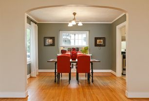 Contemporary Dining Room with Crown molding, Chandelier, Hardwood floors