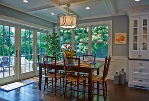 Traditional Kitchen with Flat panel cabinets, Troy Sausalito Five-Light Drum Pendant, Slate counters, One-wall, Box ceiling