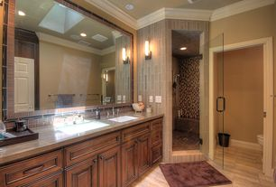 Modern Master Bathroom with Standard height, Raised panel, six panel door, Wall sconce, Shower, Wall Tiles, can lights, Flush