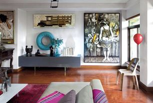Contemporary Living Room with Exposed beam, Laminate floors