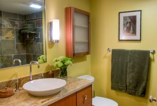 Contemporary Full Bathroom with Vessel sink, Complex granite counters, Flush, flush light, Wall sconce, Glass panel