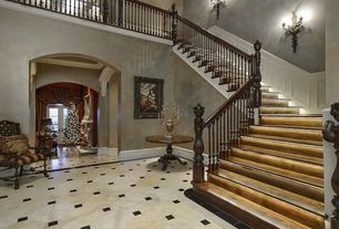 Traditional Staircase with Loft, Concrete tile , Wall sconce, High ceiling, Wainscotting