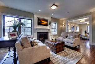 Traditional Living Room with double-hung window, Standard height, Fireplace, can lights, Cement fireplace, Hardwood floors
