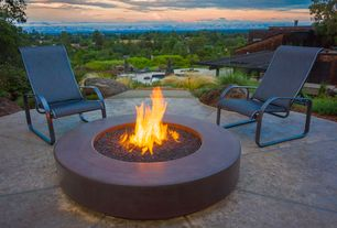 Contemporary Patio with Fire pit, exterior stone floors, Pathway