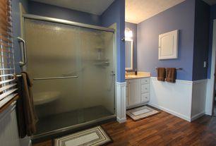 Cottage 3/4 Bathroom with American Woodmark 14-9/16x14-1/2 in. Cabinet Door Sample in Newport White