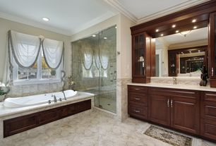 Traditional Full Bathroom with Crown molding, Marble top, Flush, Wall Tiles, Handheld showerhead, Shower, Glass panel