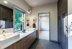 Contemporary Master Bathroom with European Cabinets, wall-mounted above mirror bathroom light, Ceramic Tile, full backsplash