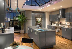 Contemporary Kitchen with Flush, Kitchen island, Breakfast nook, Skylight, Undermount sink, flush light, European Cabinets