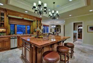 Mediterranean Kitchen with Framed Partial Panel, can lights, Pendant light, Crown molding, Complex granite counters, One-wall