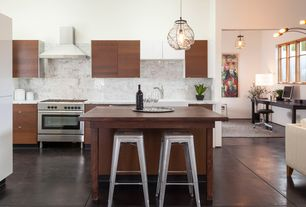 Contemporary Kitchen with One-wall, Undermount sink, Destiny: slab cabinets, slate tile floors, Organic blown glass pendant