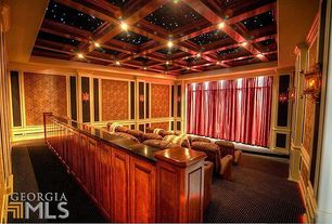 Home Theater with Box ceiling, Carpet, interior wallpaper, can lights, Wall sconce, High ceiling, Chair rail