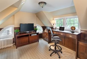 """Traditional Home Office with Highland Plaid 22601, double-hung window, Traditional  15"""" Wide Ceiling Light Fixture, Paint 1"""