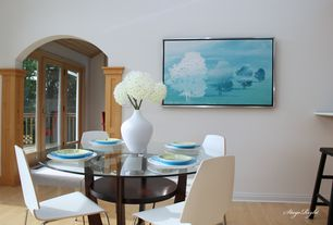 Modern Dining Room with Standard height, Hardwood floors
