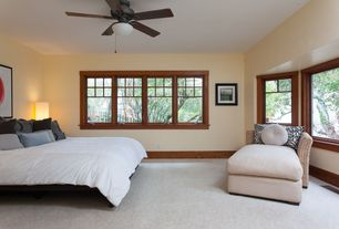 Craftsman Master Bedroom with Carpet, Ceiling fan, Bay window
