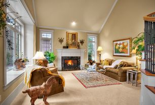 Traditional Living Room with stone fireplace, Carpet, High ceiling, Crown molding