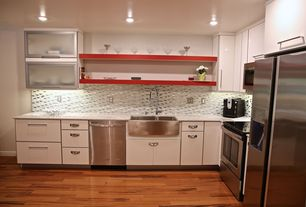 Contemporary Kitchen with European Cabinets, full backsplash, Paint 1, can lights, Standard height, Hardwood floors, L-shaped