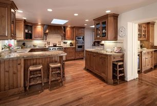 Country Kitchen with Butlers pantry, Limestone Tile, Glass panel, Decolav granite countertop in carmello, Custom hood