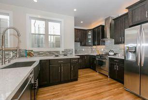 Contemporary Kitchen with U-shaped, gas range, Paint 1, full backsplash, Built In Refrigerator, Farmhouse sink, Ceramic Tile