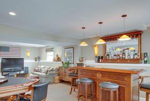 Craftsman Bar with Tech Lighting Mini Larkspur Amber Bronze MonoRail Pendant, Built-in bookshelf, Pendant light, Carpet