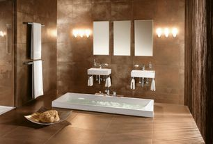 Contemporary Master Bathroom with Double sink, Bathtub, Freestanding, Wall Tiles, Master bathroom, stone tile floors