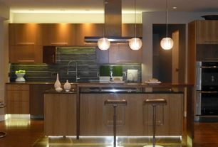 "Contemporary Kitchen with Under-cabinet floor lighting, 11"" globe pendant, Destiny: slab cabinets"