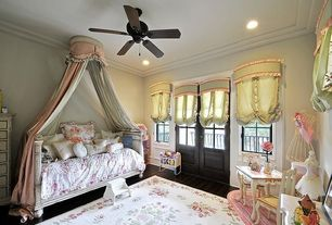 Traditional Kids Bedroom with no bedroom feature, Ceiling fan, Casement, Standard height, can lights, Hardwood floors