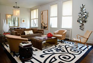 Eclectic Living Room with Knoll  Risom Arm Lounge Chair, Carved African stool, One Kings Lane Hyde Velvet Club Chair