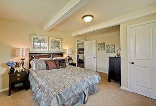 Traditional Master Bedroom with Standard height, flush light, Exposed beam, specialty door, Carpet
