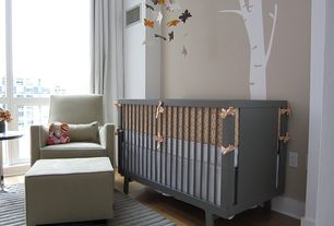 Contemporary Kids Bedroom with Standard height, Mural, Crib mobile, no bedroom feature, Tree trunk wall decal, Paint