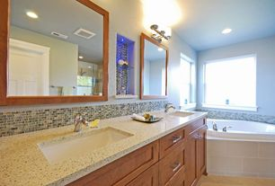 Modern Master Bathroom with Undermount sink, Subway Tile, Double sink, frameless showerdoor, Flat panel cabinets