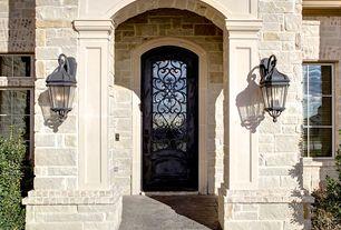Mediterranean Front Door with Casement, Glass panel door, exterior stone floors
