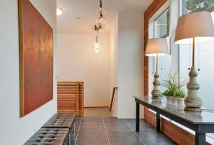 Contemporary Hallway with flush light, Pendant light, Concrete tile