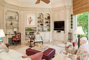 Traditional Living Room with Ceiling fan, Leather ottoman, Upholstered sofa, Armchair, Wildon home grove ottoman, Side table