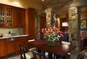 Contemporary Dining Room with Columns, Concrete tile , High ceiling, can lights