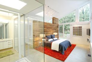 Contemporary Master Bedroom with Concrete floors, bedroom reading light, interior wallpaper, picture window, High ceiling